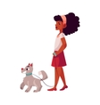 Black African American girl walking with dog on vector image vector image