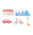 building cityscape car bike and lamp icons set vector image vector image