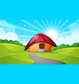 cartoon landscape with mushroom house sun cloud vector image vector image