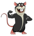 cartoon smiling big gray rat in a bodybuilder pose vector image vector image