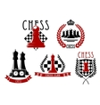 Chess game icons with boards clock and pieces vector image vector image
