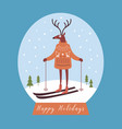 christmas card deer in warm knitted sweater ski vector image