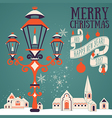 Christmas card with candle lantern vector image vector image
