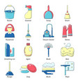 cleaning tools icons set cartoon style vector image vector image