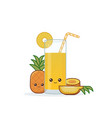 cute kawai smiling cartoon pineapple juice vector image