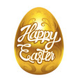 decorative golden egg with happy easter text vector image