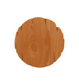 empty round unhewn wooden signboard with place for vector image