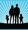 familly silhouette in nature vector image vector image