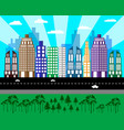 flat cityscape of tall houses vector image vector image