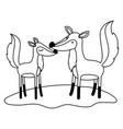 fox couple over grass in monochrome silhouette vector image vector image