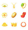 gold jewelry icons set cartoon style vector image vector image