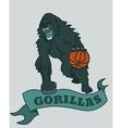 Gorilla basketball club emblem vector image vector image
