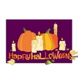 Halloween pumpkin candles and candies vector image