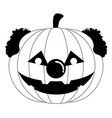 halloween pumpkin with a clown nose and hair vector image