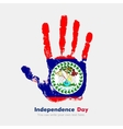 Handprint with the Flag of Belize in grunge style vector image vector image