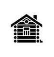 house - cabin - wood house icon vector image