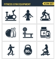 Icons set premium quality of fitness gym equipment vector image