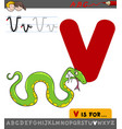letter v with cartoon viper vector image vector image