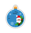merry christmas santa claus gift tag card vector image