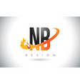 nb n b letter logo with fire flames design vector image vector image
