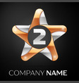 number two logo symbol in the colorful star on vector image vector image