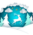 paper cartoon landscape merry christmas happy vector image