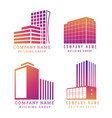 real estate logo set modern building vector image vector image