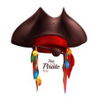 realistic pirate hat vector image vector image