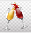 realistic wine bottle splashing in vector image vector image