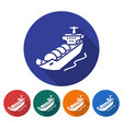 round icon of gas tanker flat style with long vector image