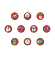 Round red Christmas and New Year icons set vector image vector image