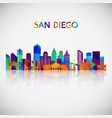 san diego skyline silhouette in colorful vector image