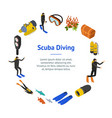 scuba diving signs 3d banner card circle isometric vector image