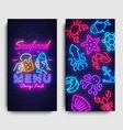 seafood menu neon banner seafood vector image vector image