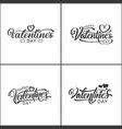 set inscriptions valentines day vector image