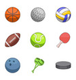 sports shell icons set cartoon style vector image