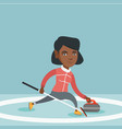 sportswoman playing curling on a skating rink vector image vector image