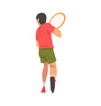 tennis player with racket male athlete character vector image vector image