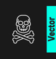white line skull on crossbones icon isolated on vector image vector image