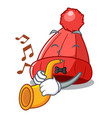 with trumpet photo of a cartoon woolen beanie vector image vector image
