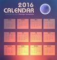 Calendar 2016 night sky and moon background design vector image