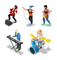 isometric rock musicians with singer guitarist vector image
