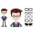 Set cartoon businessman in trendy rectangle shaped vector image