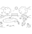 Coloring Young girl in the park vector image