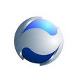 3d blue and silver sphere ecology logo template vector image vector image