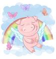 a cute pig cartoon on a rainbow vector image vector image