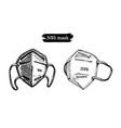 a set medical masks graphic hand vector image vector image