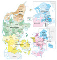 administrative and political outline map of the vector image vector image