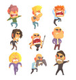 angry furious men set for label design colorful vector image