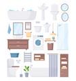 bathroom furniture set cartoon sanitary hygiene vector image